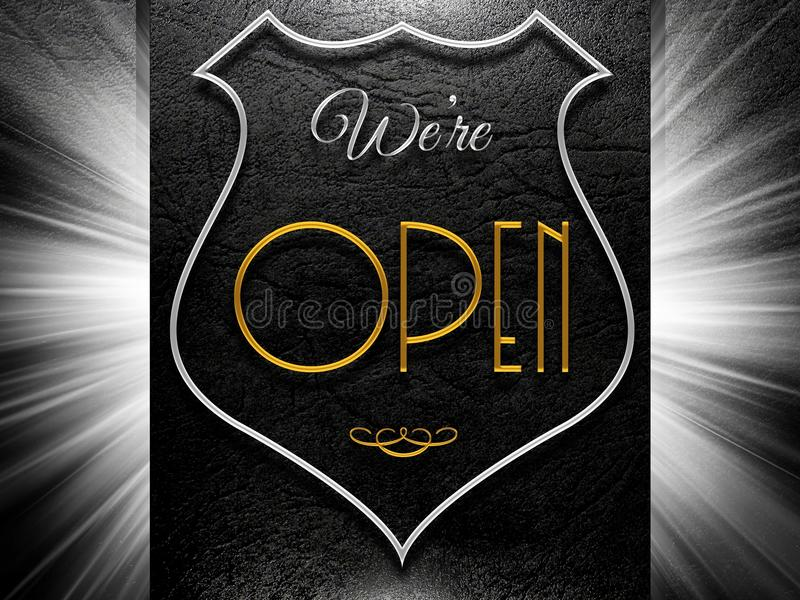 We're open sign on leather background stock illustration