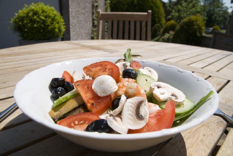 Re Prawn Salad Alfresco fotografia stock