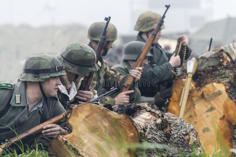 Re-promulgação da segunda guerra mundial Blyth, Northumberland, Inglaterra 16 05 2013 imagem de stock royalty free