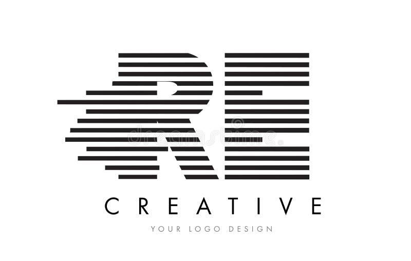 RE R E Zebra Letter Logo Design with Black and White Stripes royalty free illustration