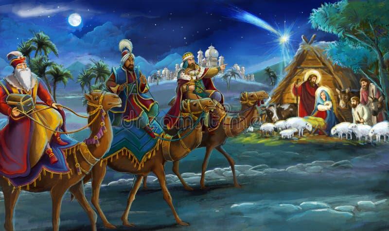 Re religiosi dell'illustrazione tre - e famiglia santa - scena tradizionale royalty illustrazione gratis