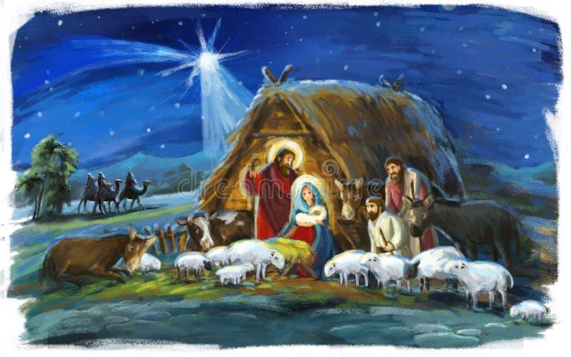 Re religiosi dell'illustrazione tre - e famiglia santa - scena tradizionale con le pecore e l'asino illustrazione di stock