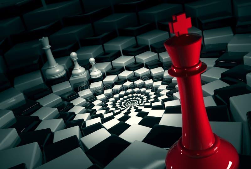 Re rosso di scacchi sulla scacchiera rotonda contro le figure bianche illustrazione di stock