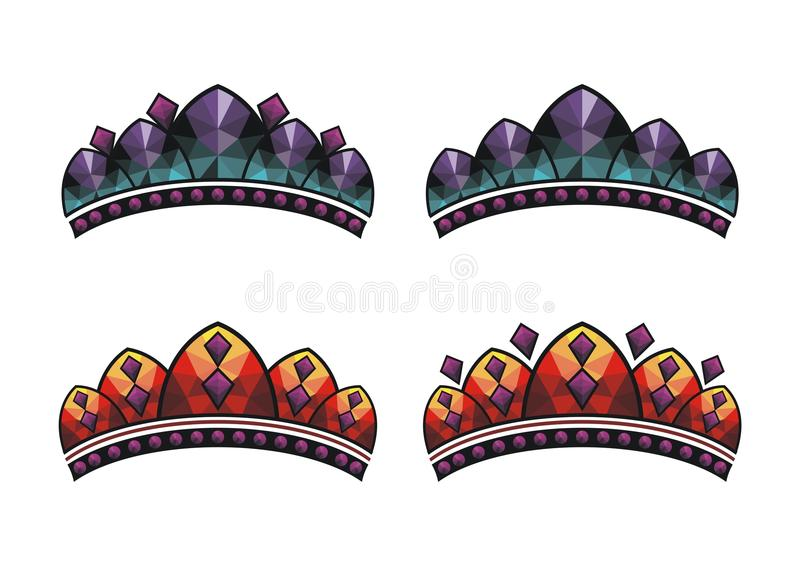 Re stabilito di vettore della corona, regina, principe, principessa illustrazione vettoriale