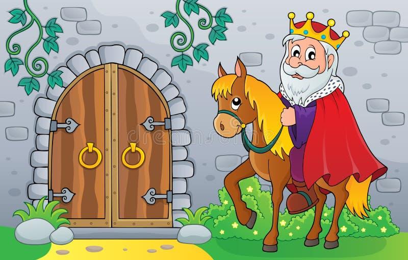 Re sul cavallo dalla vecchia immagine 1 di tema della porta illustrazione di stock