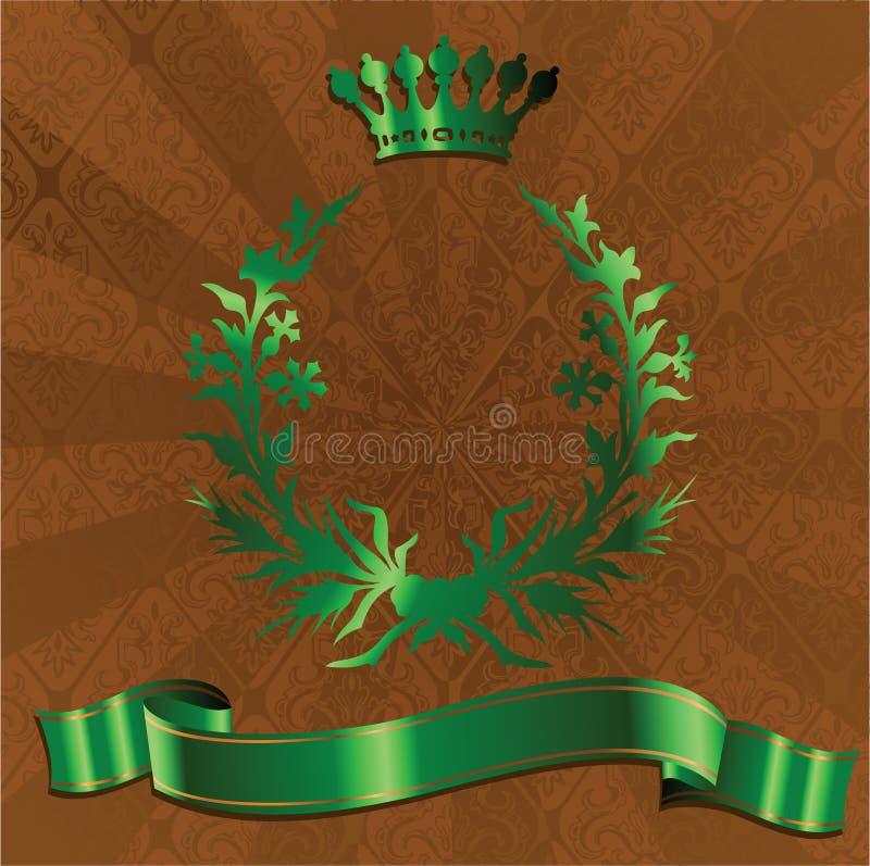 Re verde Crown On Brown Background. illustrazione vettoriale