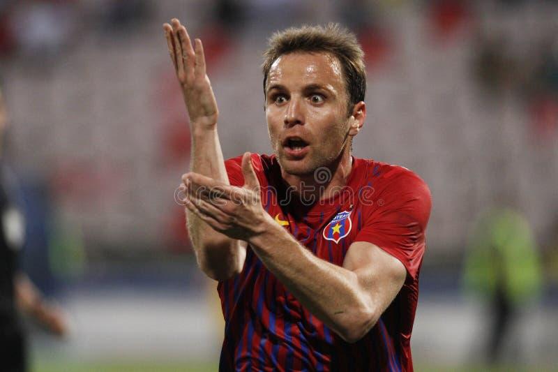 Reação de Novak Martinovic - de Steaua Bucareste fotos de stock royalty free