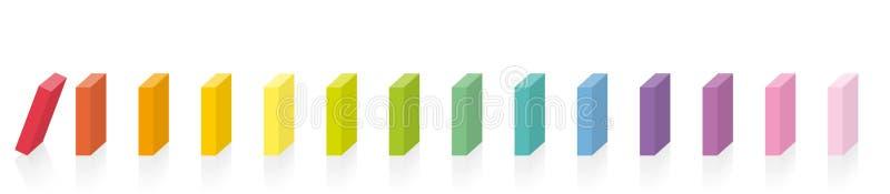 Reação em cadeia colorida colorida do arco-íris dos dominós ilustração royalty free
