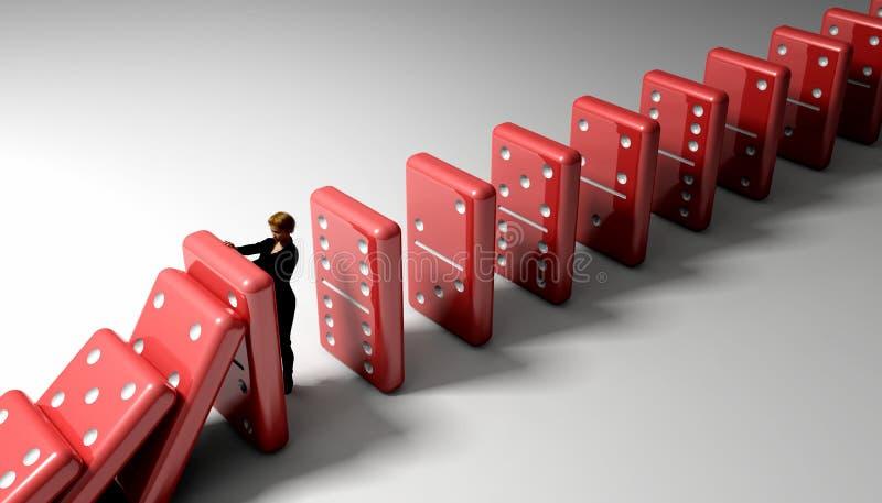 Reação em cadeia dos dominós ilustração stock