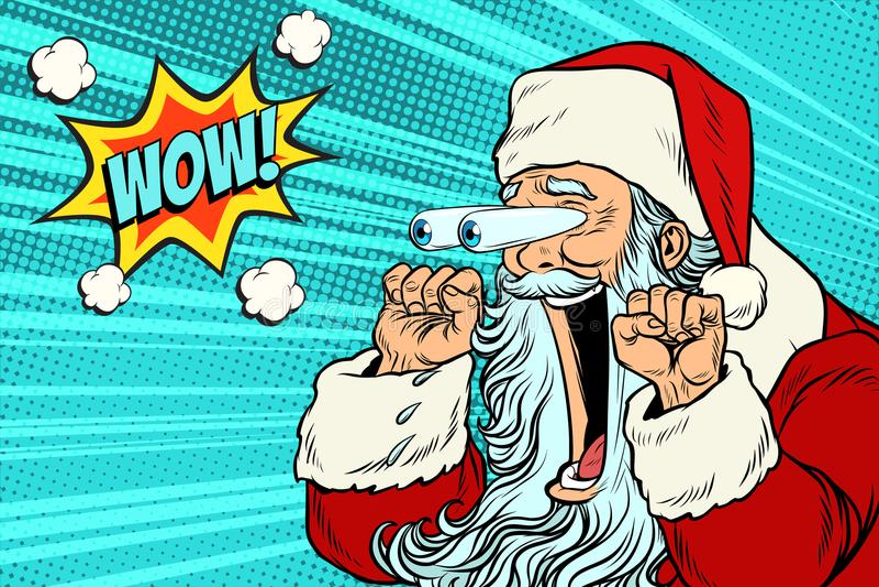 Reação emocional do caráter do wow Santa Claus Christmas ilustração royalty free