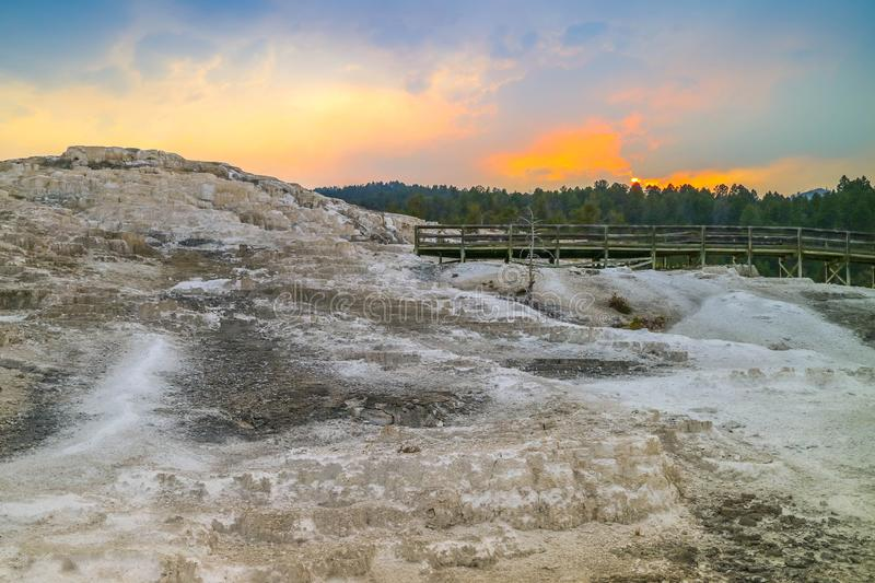 A ?rea de Mammoth Hot Springs no parque nacional de Yellowstone, Wyoming imagem de stock