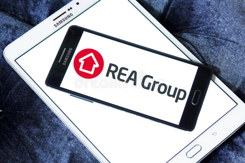 REA Group logo. Logo of REA Group on samsung mobile. REA Group is a global online real estate advertising company listed on the Australian Stock Exchange royalty free stock photo