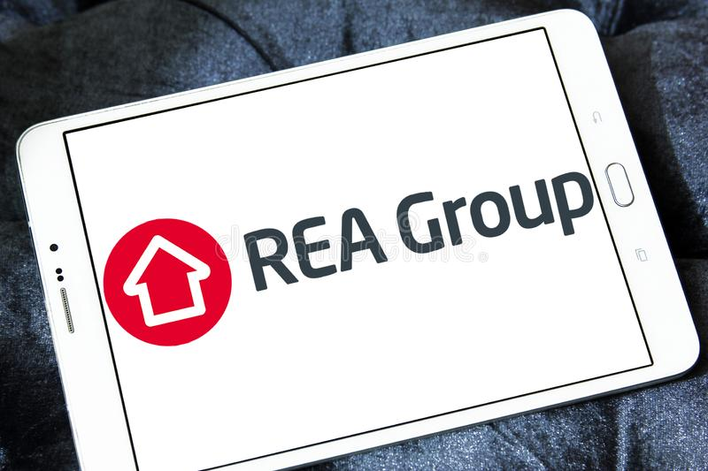 REA Group logo. Logo of REA Group on samsung tablet . REA Group is a global online real estate advertising company listed on the Australian Stock Exchange royalty free stock image