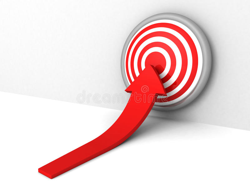 Rea growing arrow pointihg to target bull-eye center vector illustration