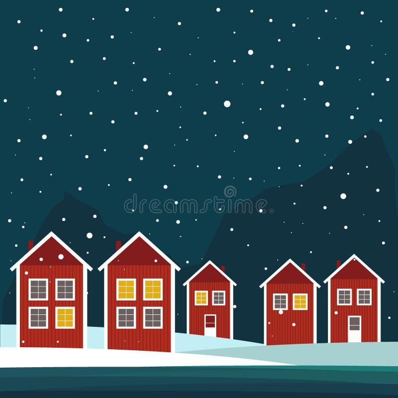 Rea And White Wooden Scandinavian Houses. Night Theme stock illustration