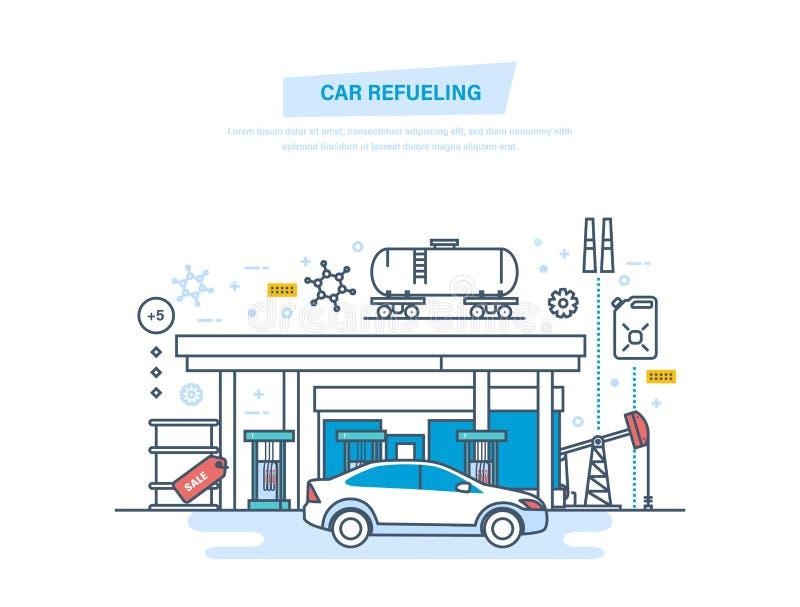 Reabastecimento do carro com gasolina no posto de gasolina Serviço do carro, loja ilustração stock