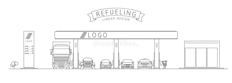 Reabastecimento, ilustração linear do posto de gasolina com veículos diferentes ilustração do vetor