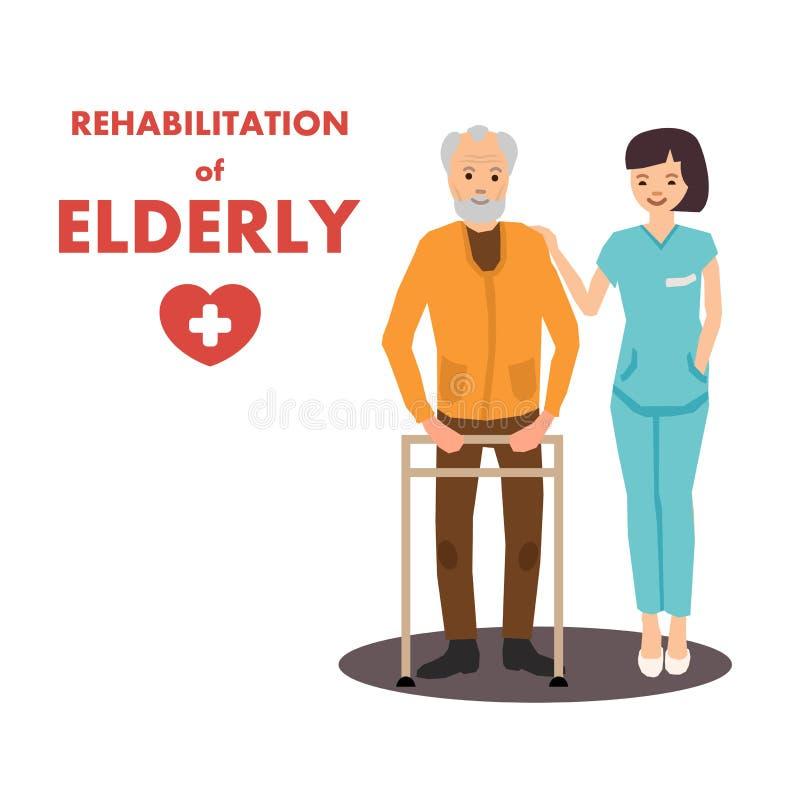 Reabilitação de idosos no Centro de Reabilitação Advert ilustração stock