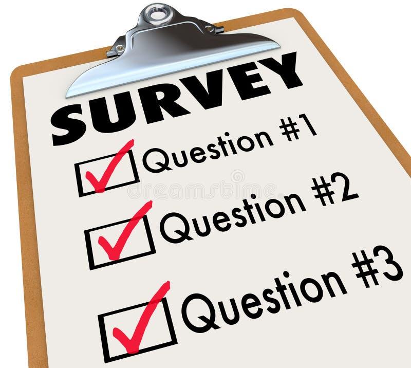 Reacción de clientes de la interrogación del tablero de la lista de control de la palabra de la encuesta libre illustration