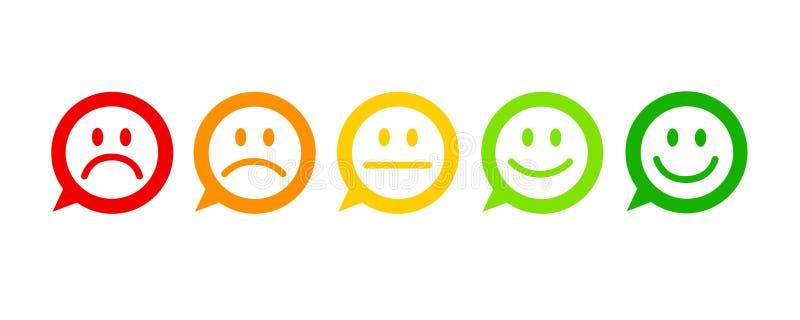 Reacción de la satisfacción del grado en la forma burbuja tremenda normal excelente del discurso de las emociones de buena mala ilustración del vector