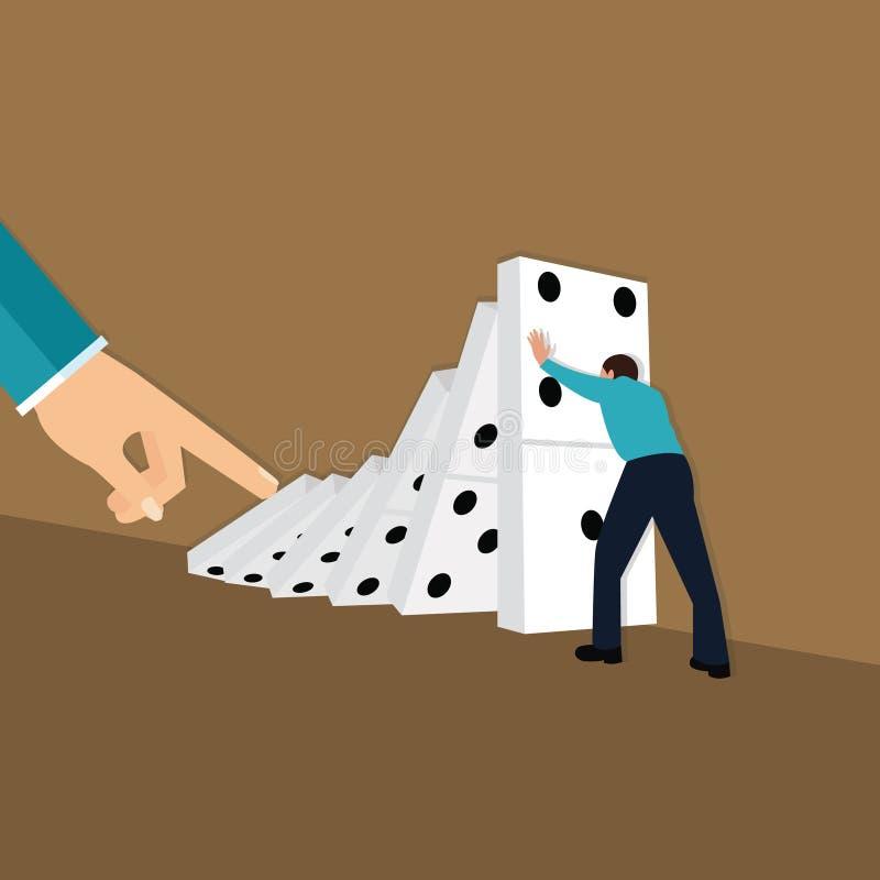 Reacción en cadena del empuje del finger de la mano del efecto de dominó stock de ilustración