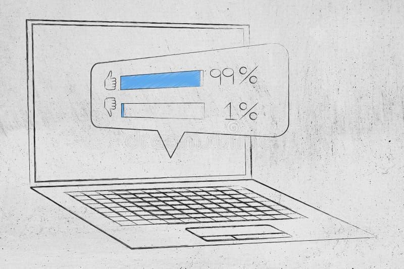 Reacción en línea con los comentarios positivos haciendo estallar fuera de scre del ordenador portátil stock de ilustración