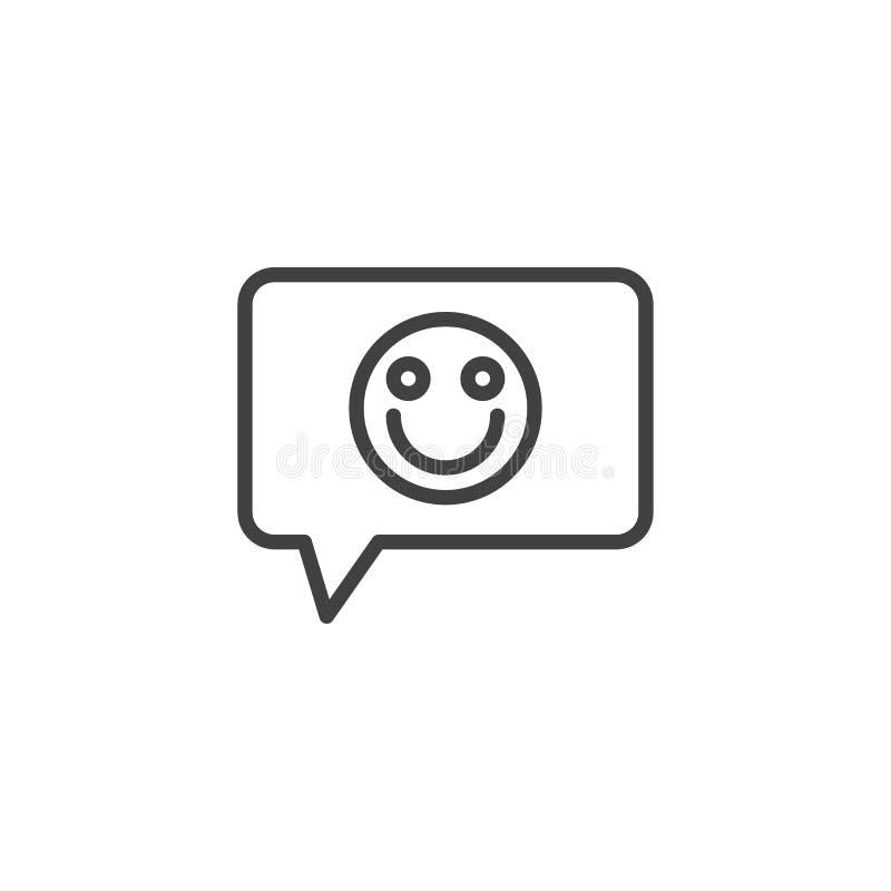 Reacción, icono del esquema del emoticon de la sonrisa ilustración del vector