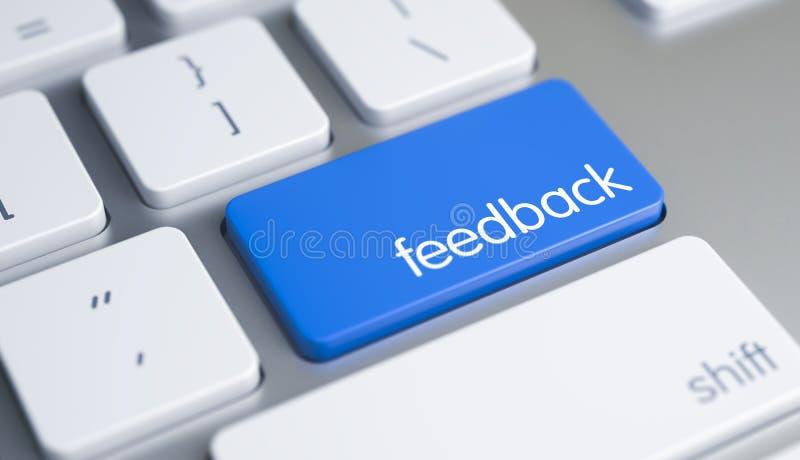 Reacción - mensaje en el botón azul del teclado 3d ilustración del vector