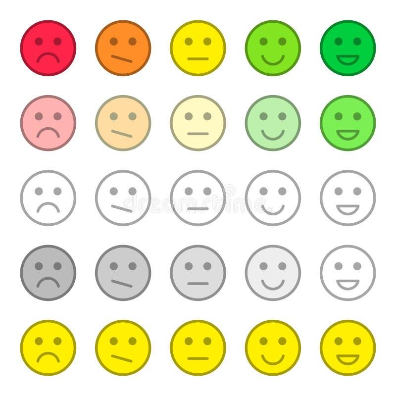 Reacción y satisfacción de clasificación Estudio de calidad del servicio de atenci?n al cliente Colección de sonrisas, diversas e stock de ilustración