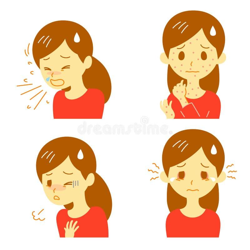 Reacciones alérgicas stock de ilustración