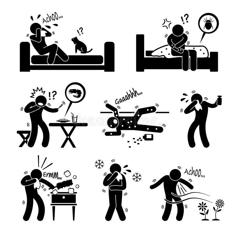 Reacciones alérgicas Cliparts de la alergia libre illustration
