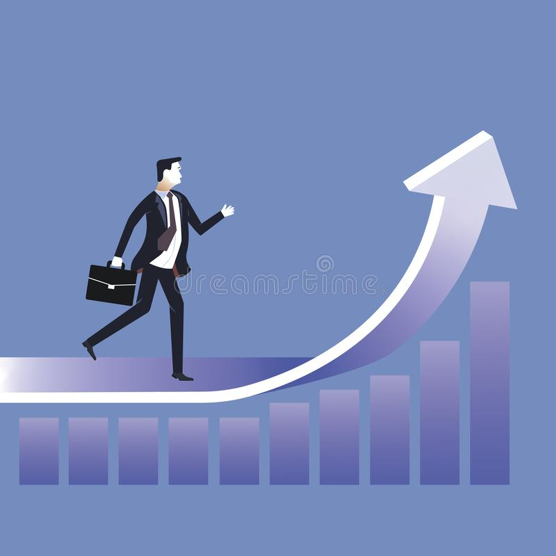 Reach the target. Businessman running to the target. Concept business vector illustration royalty free illustration