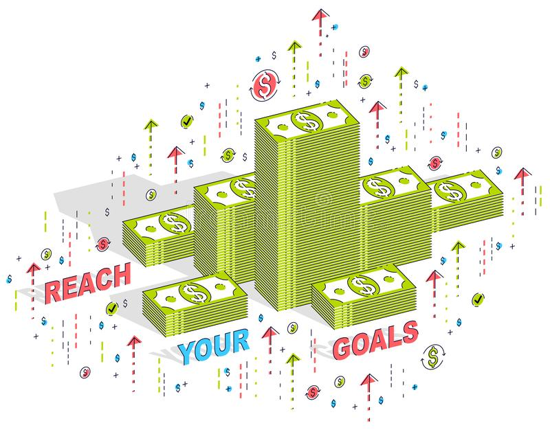 Reach your goals business motivation poster or banner, cash money stacks with lettering isolated on white. Vector 3d isometric stock illustration