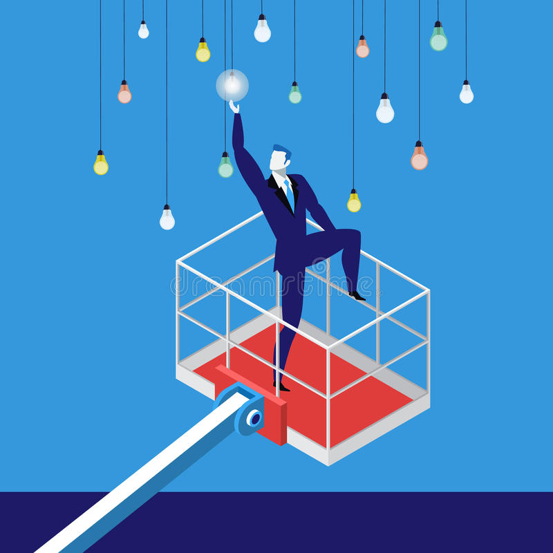 Reaching a goal in business concept vector illustration. Vector illustration of businessman lifting by crane to reach electric light bulbs. Reaching a goal in vector illustration