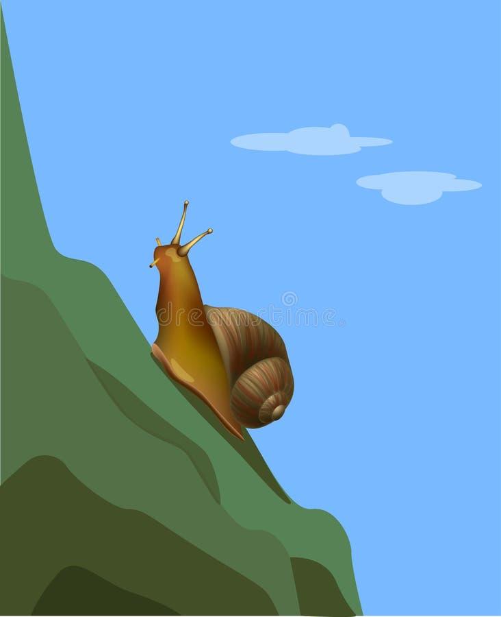 Reaching a goal snail on the mountain stock illustration