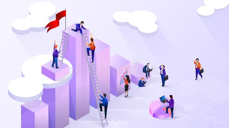 Reaching High Financial Indicators Vector Concept royalty free illustration