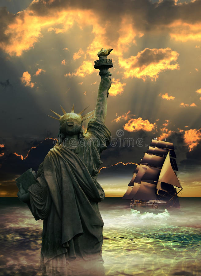 Download Reaching liberty stock illustration. Image of america - 34572508