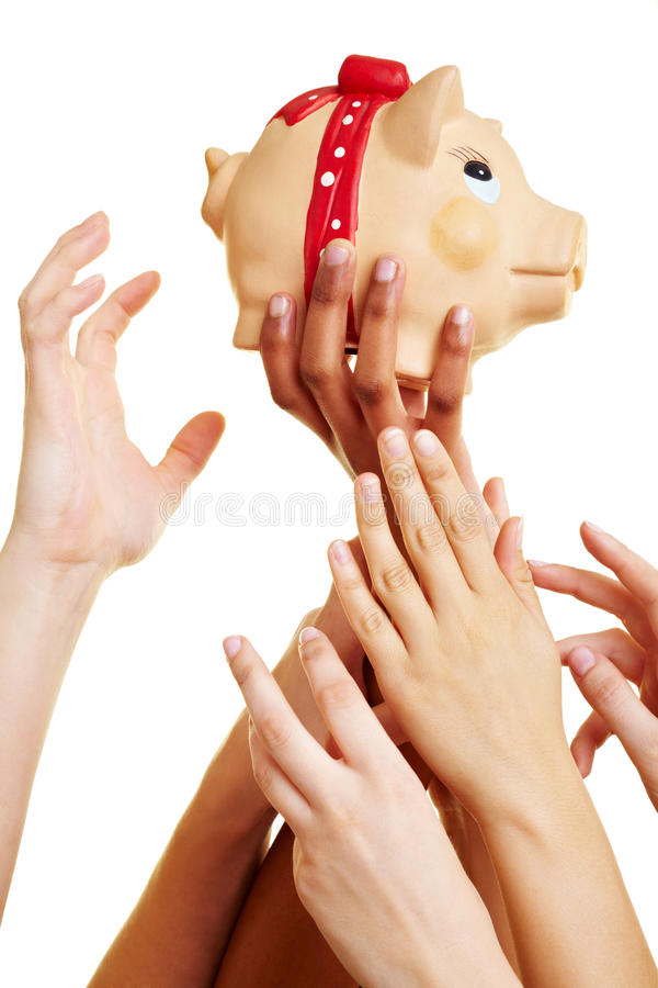 Download Reaching For The Piggy Bank Stock Image - Image of competition, hands: 14862095