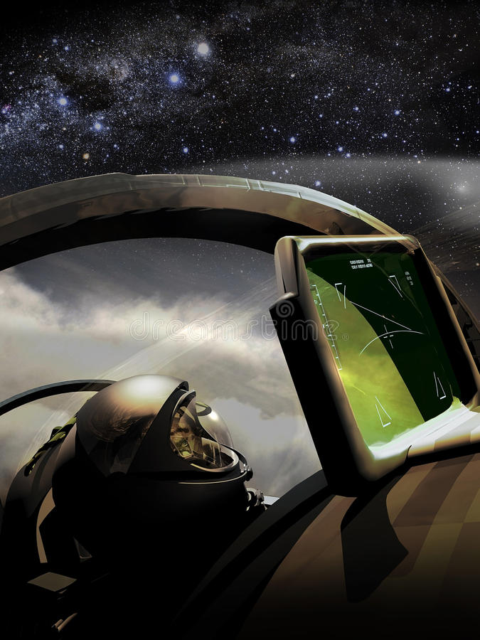 Reaching the Stars. Inside the cockpit of a fighter, its pilot reaches the maximal height until see stars