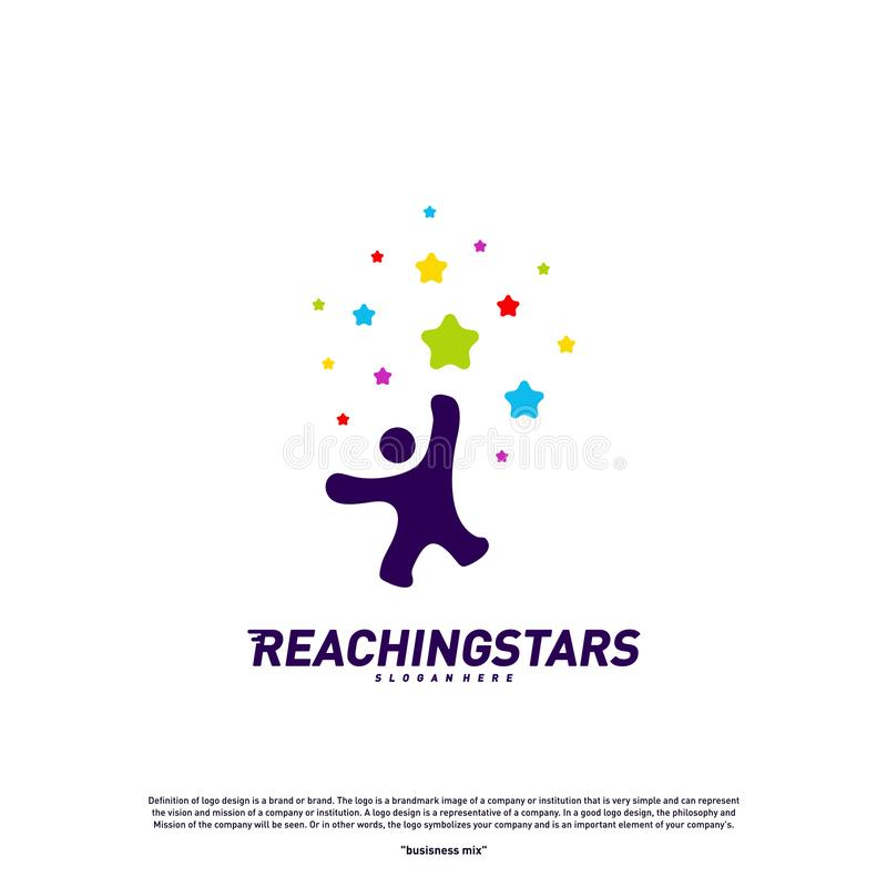 Reaching Stars Logo Design Concept Vector. Child Dream star logo. Colorful, Creative Symbol, Icon stock illustration