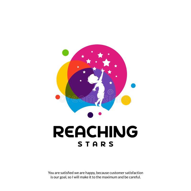 Reaching Stars Logo Design Template. Dream star logo. Emblem, Colorful, Creative Symbol, Icon royalty free illustration