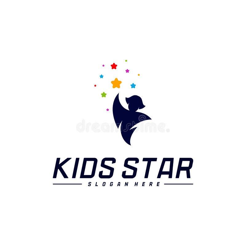Reaching Stars Logo Design Template. Dream star logo. Kids Star Concept, Colorful, Creative Symbol.  stock illustration