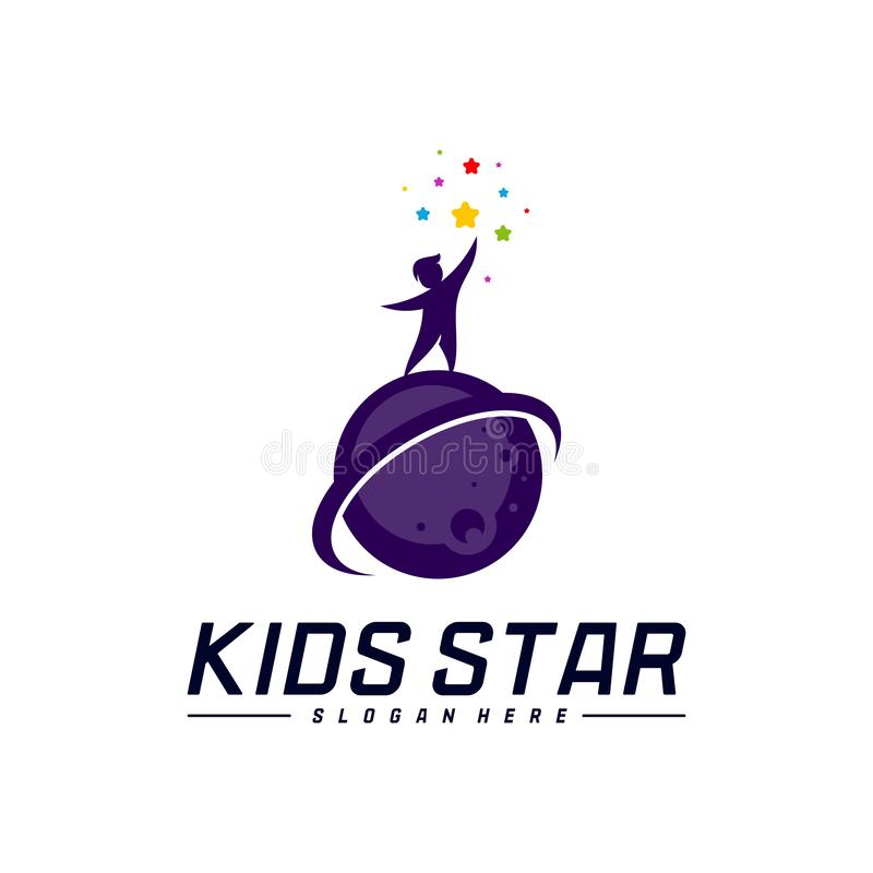 Reaching Stars Logo Design Template. Dream star logo. Kids Star Concept, Colorful, Creative Symbol royalty free illustration