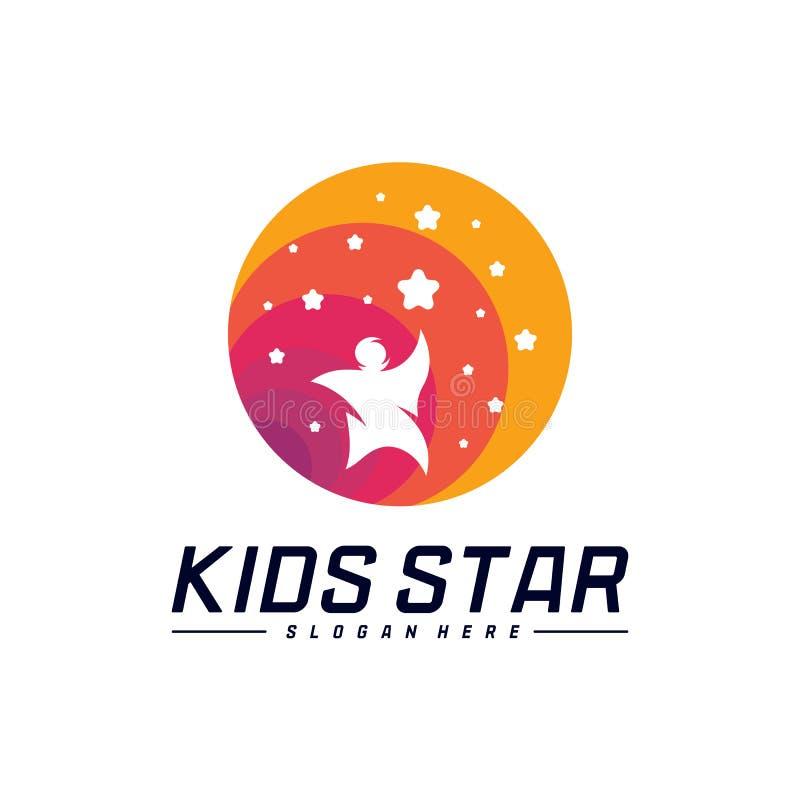 Reaching Stars Logo Design Template. Dream star logo. Kids Star Concept, Colorful, Creative Symbol.  royalty free illustration