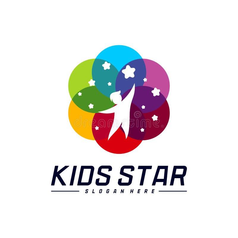 Reaching Stars Logo Design Template. Dream star logo. Kids Star Concept, Colorful, Creative Symbol.  vector illustration