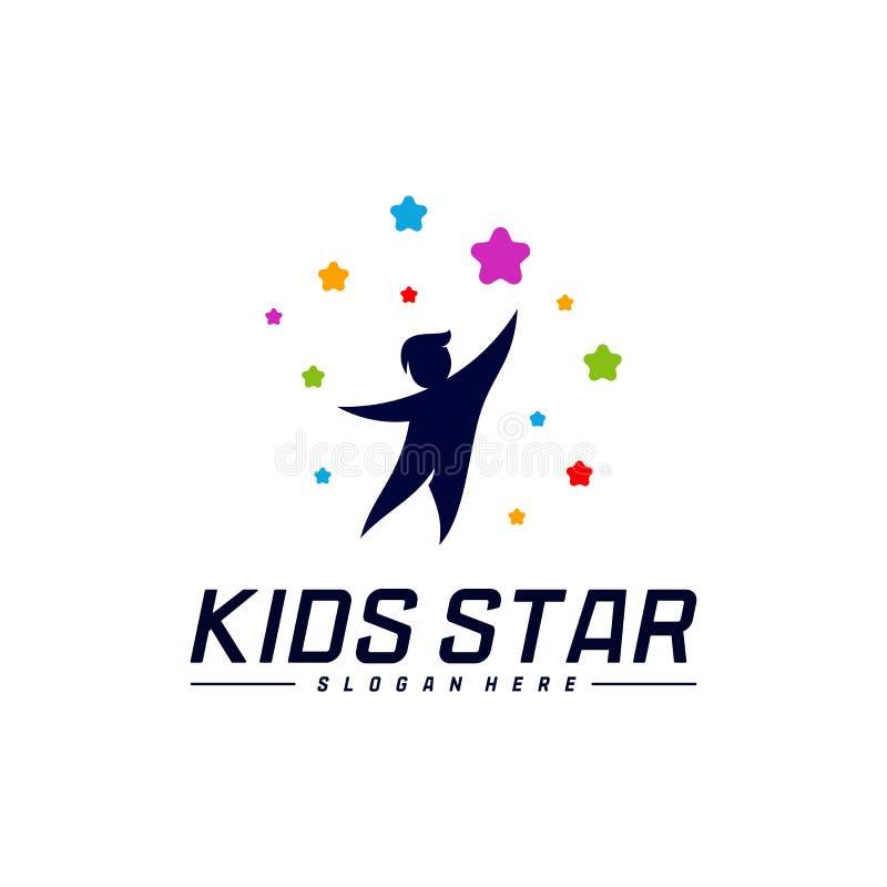 Reaching Stars Logo Design Template. Dream star logo. Kids Star Concept, Colorful, Creative Symbol stock illustration