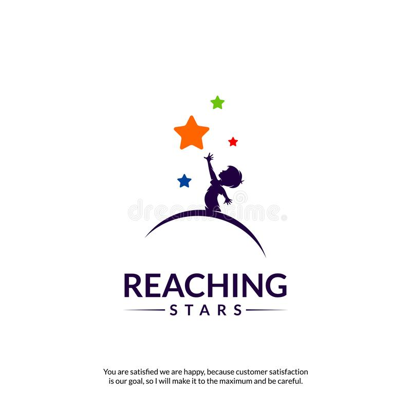 Reaching Stars Logo Design Template. Dream star logo. Emblem, Colorful, Creative Symbol, Icon royalty free illustration