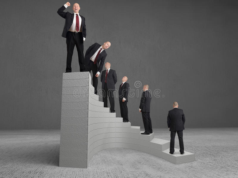 Reaching the top. Concept Businessman reaching the top stock photography