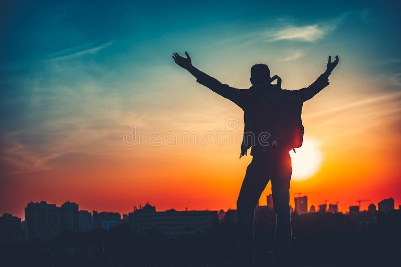 Reaching The Top. Success Concept. Man silhouette royalty free stock images