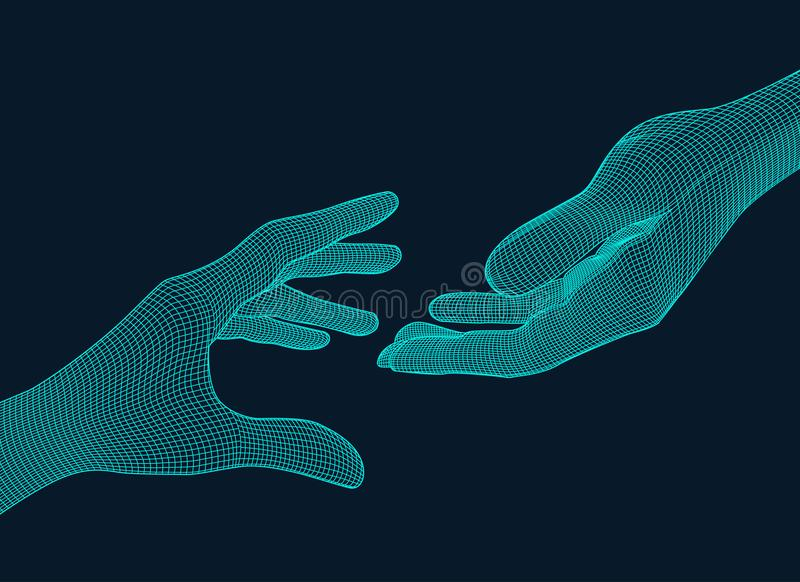 Reaching Wireframe hands royalty free illustration